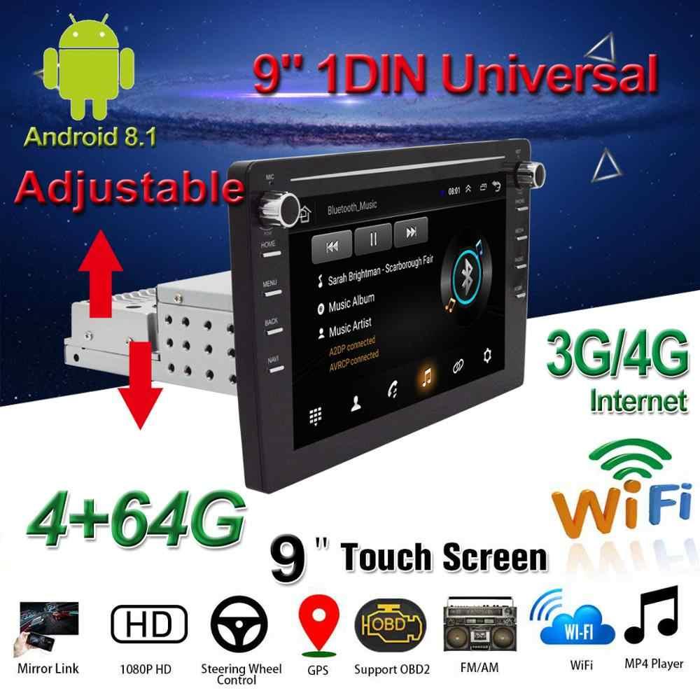 """1din/2din reprodutor de dvd do carro 9 """"android 8.1 reprodutor multimídia do carro com acima para baixo tela ajustável wifi/3g/4g bt gps rádio do carro estéreo"""