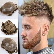 Парик из натуральных волос для мужчин швейцарские кружева спереди и ПУ Парики для мужчин 8x10 дюймов мужские волосы кусок заменить мужчин t системы парик с естественными волнами мужчины