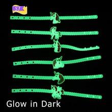 Luminous Unicorn glow in dark PVC girl children Bracelet Cartoon Birthday Party Chain Creative Kids Silicone