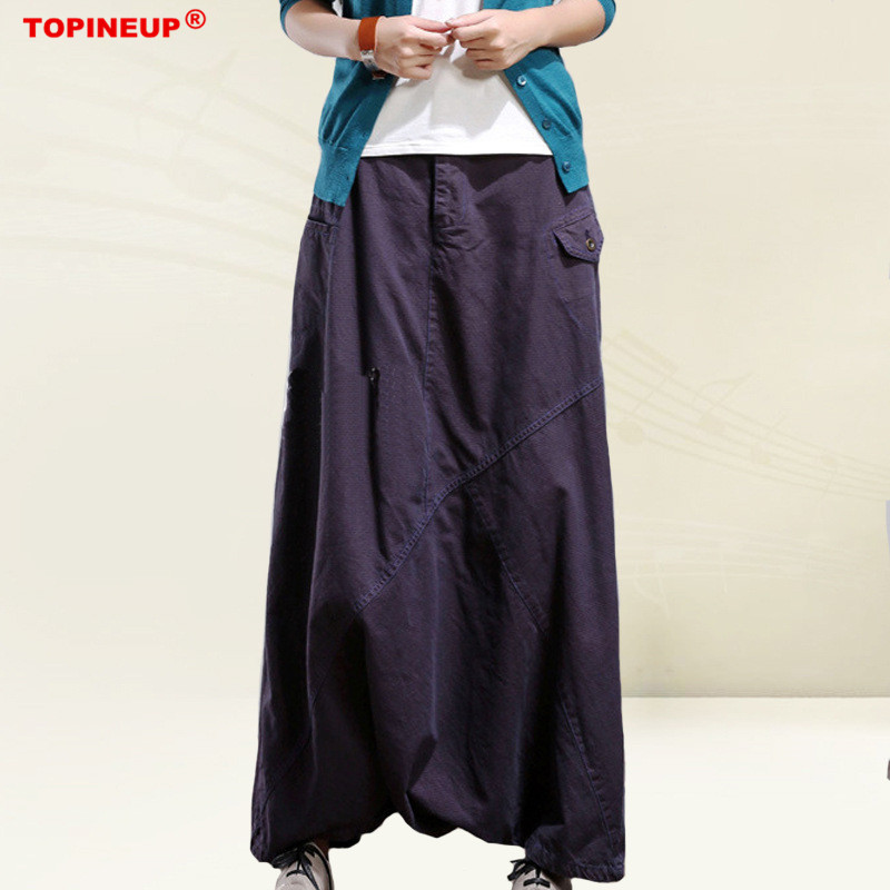 Original design Solid color Women Elastic Baggy Hippie Boho Gypsy cotton Linen Harem Pants
