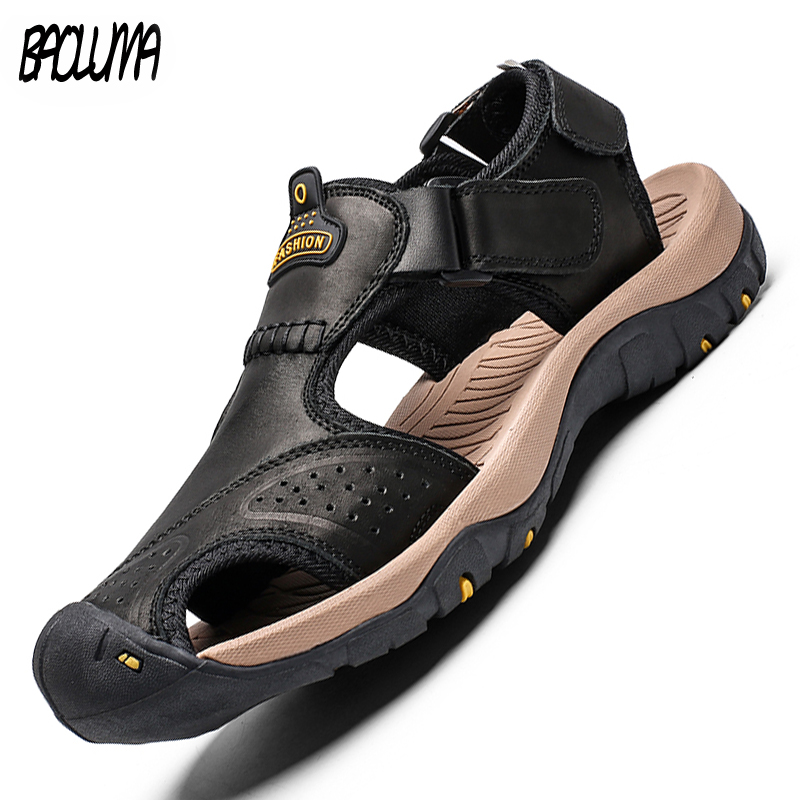 Hot Brand Summer Men's Sandals Leather Men Beach Roman Sandals Brand Men Outdoor Shoes Flip Flops Slippers Sneakers Summer Shoes