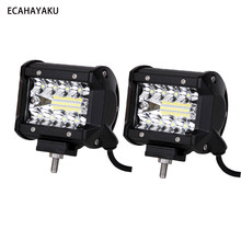 "ECAHAYAKU 2PCS 4"" 60W LED Light Bar Waterproof IP68 6000K Driving Beam for Offroad Military Boating Farming 12V/24V Car LED Lamp(China)"