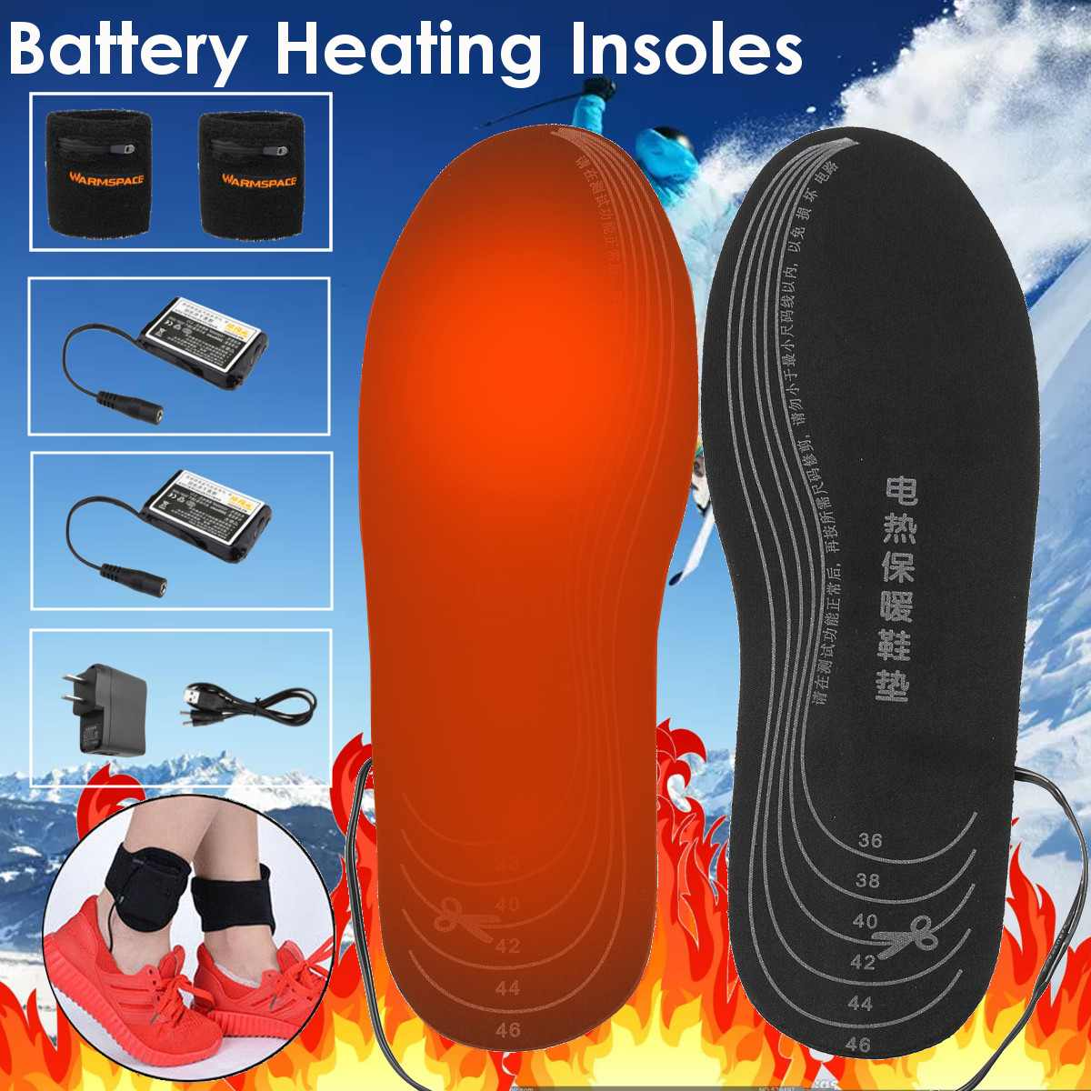 Heated-Insoles Foot-Pads Winter Women Electric-Battery Warm 50-Degree Can-Cut Carbon-Fiber