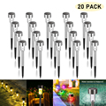 20PACK Solar Pathway Light Outdoor Solar Garden Lamp Stainless Steel Landscape Lawn Light For Pathway Patio Yard Lawn Decoration