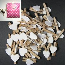 50Pcs Wooden Clips Love Heart Pegs Clothespin party Christmas DIY Cute Wedding Decor Craft