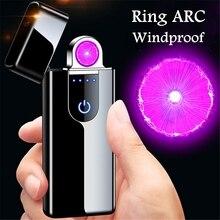 Newest Spinning ARC Cigarette Lighter USB Electric Plasma Lighter Tesla Coil Windproof Electronic Li