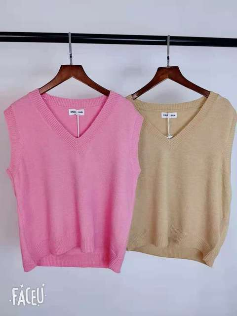 New V neck Girls Pullover vest sweater Autumn Winter Pink Knitted Women Sweaters vest Sleeveless Warm Sweater Casual oversize 6