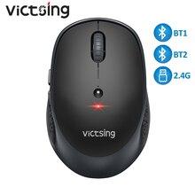 Victsing pc254 mouse sem fio 2400dpi ajustável portátil bluetooth mouse 2.4ghz usb óptico sem fio ratos para computador portátil tablet