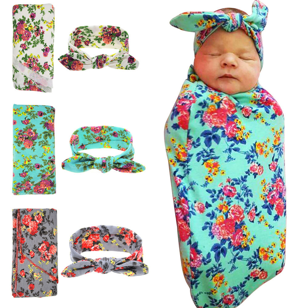 Baby Floral Print Receiving Swaddle Blanket+Bowknot Headband Set Infants Newborn Wrap Towel