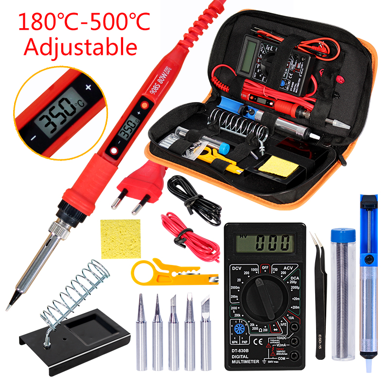 Soldering Iron Kit With Digital Multimeter  AC/DC 80W 220V Adjustable Temperature Welding Solder Tip Welding Tool Kits