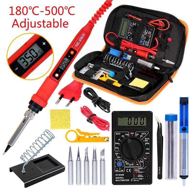 Soldering Iron Kit With Digital Multimeter  AC/DC 80W 220V Adjustable Temperature Welding Solder Tip Welding Tool Kits