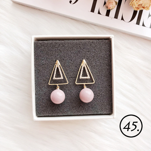 Korean Girl Simple Pink Geometry Star Heart Bow Ice Cream Cross Flower Lace Tassel Drop Earrings.jpg 640x640 - Korean Girl Simple Pink Geometry Star Heart Bow Ice Cream Cross Flower Lace Tassel Drop Earrings for Fashion Women Jewelry