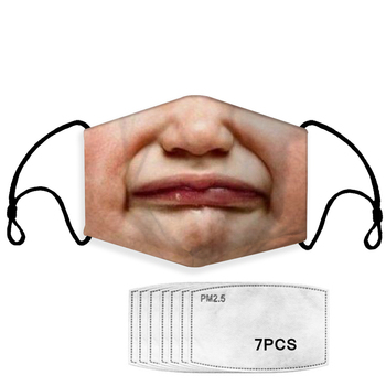 Funny Face Printing Mask Reusable Protective PM2.5 Mouth Mask Windproof Mouth-muffle bacteria proof Flu Masks with 7 Filters