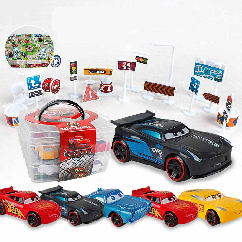 Disney Diecasts Toy Vehicles Car Lightning Mcqueen suit with six small car container car set Alloy Model Children Toy Gifts