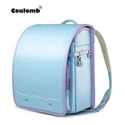 Colomb Детские рюкзаки для девочек, школьные сумки для детей, ортопедическая школьная женская сумка, японский PU рандосеру, детские сумки
