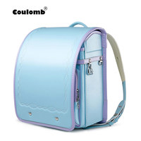Coulomb Children's Backpacks For Girls School Bags For Kids Orthopedic School Female Satchel Japanese PU Randoseru Baby Bags