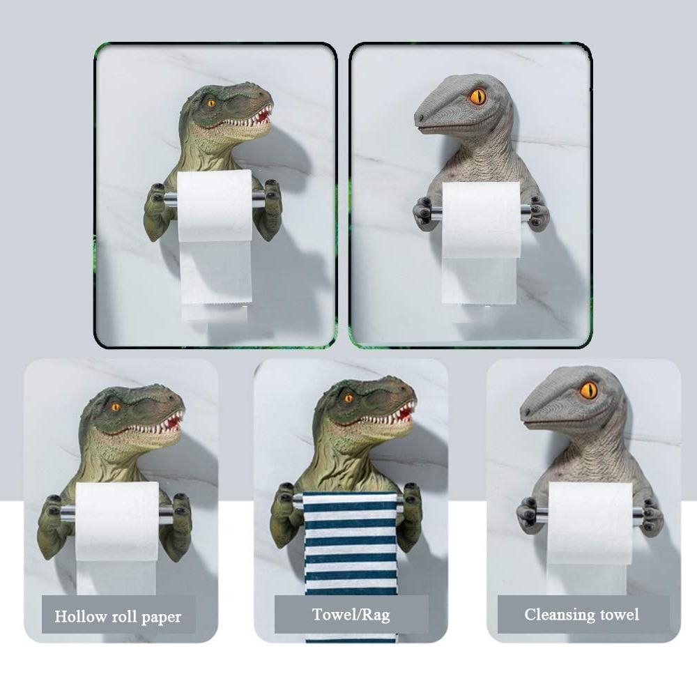 Tissue Box Creative Resin  Wall Rack Toilet Paper Holder Cartoon Dinosaur Towel Rack Bedroom Roll Holder HR