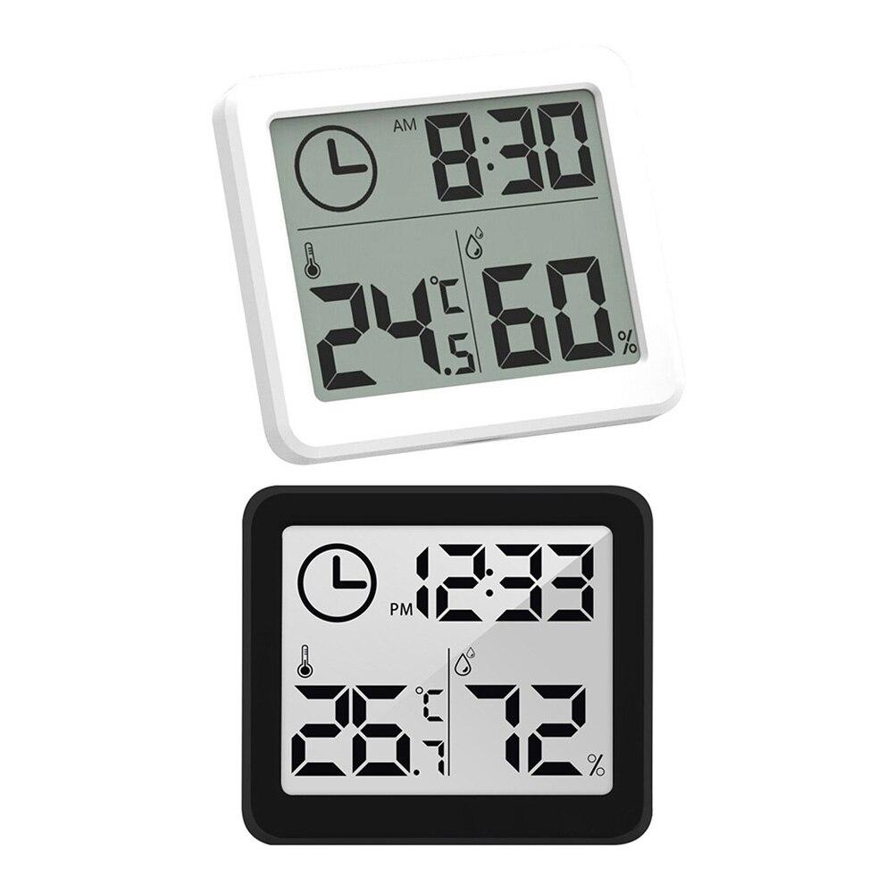 Цифровым термометром и гигрометром декоративные часы для м автоматический электронный монитор влажности Будильник ЖК-дисплей Экран Диспл...