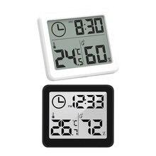 Digital termômetro higrômetro medidor automático eletrônico monitor de umidade despertador display lcd tela interior e seco higrômetro