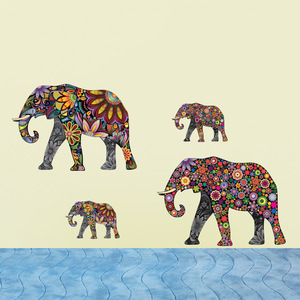Colorful Elephant PVC Wall Decals/Adhesive Pattern Animals Romantic Wall Sticker/ Wall Stickers Decorative Stickers Removable
