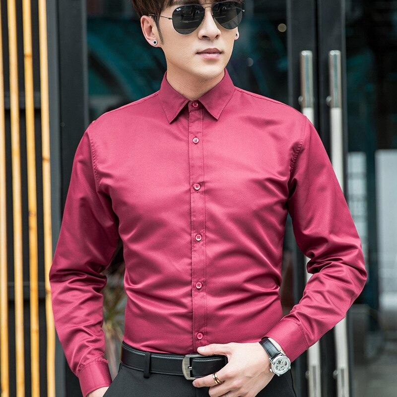 Men's Professional Business Social Shirt Men's Dress Shirt Slim Long Sleeve Solid Shirt Plus Size Men's White Red Black Shirts