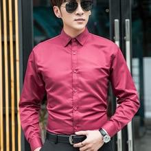 Men's Professional Business Shirt Men's Dress Up Casual Slim Long Sleeve Solid
