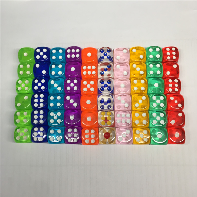 10Pieces/Lot High Quality Transparent Acrylic 6 Sided 14mm D6 Point Dice For Club/Party/Family Board Games 10 Colors