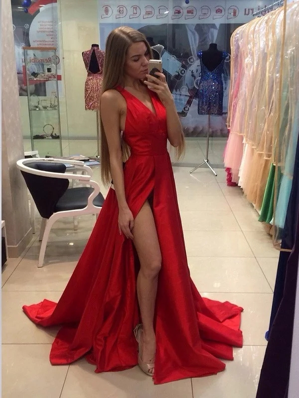 2020 Classic   Evening     Dress   A-Line/Princess Halter Sleeveless Sweep/Brush Train Taffeta   Dresses   for Party