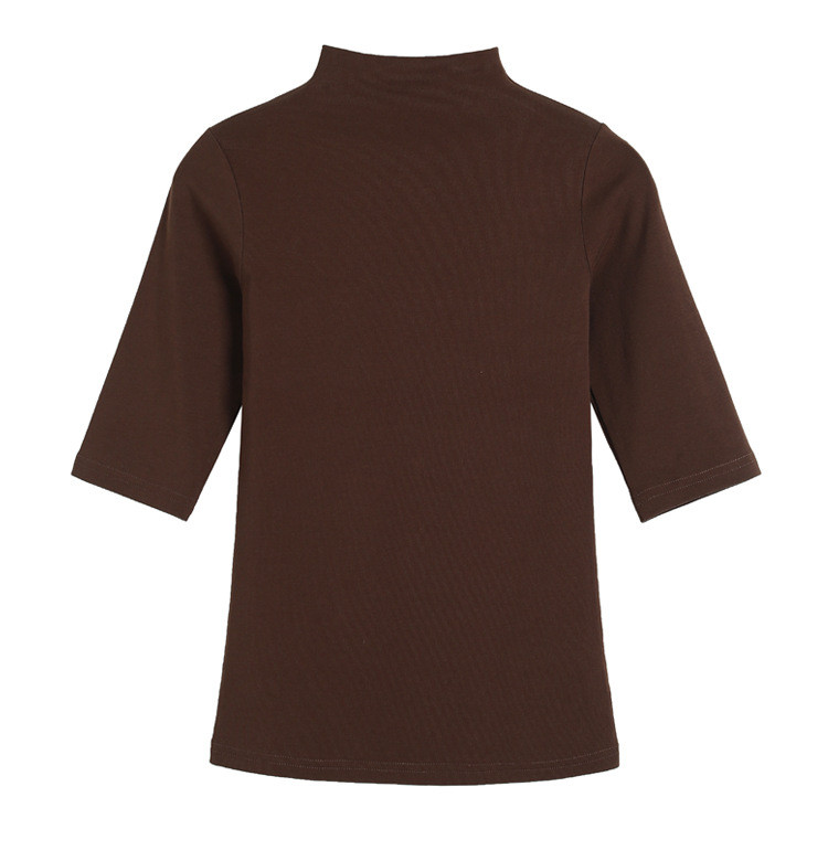 MRMT 2021 Brand Womens Half High Collar T-Shirt Mid-sleeved T Shirt For Female Woman Clothing New Thin Tops Womens T-shirts 3