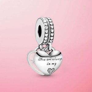 925 пробы, серебряный, для мамы и дочки, с сердечками, с бусинами, подходит для оригинального браслета, ювелирные изделия, подарок для мамы и до...
