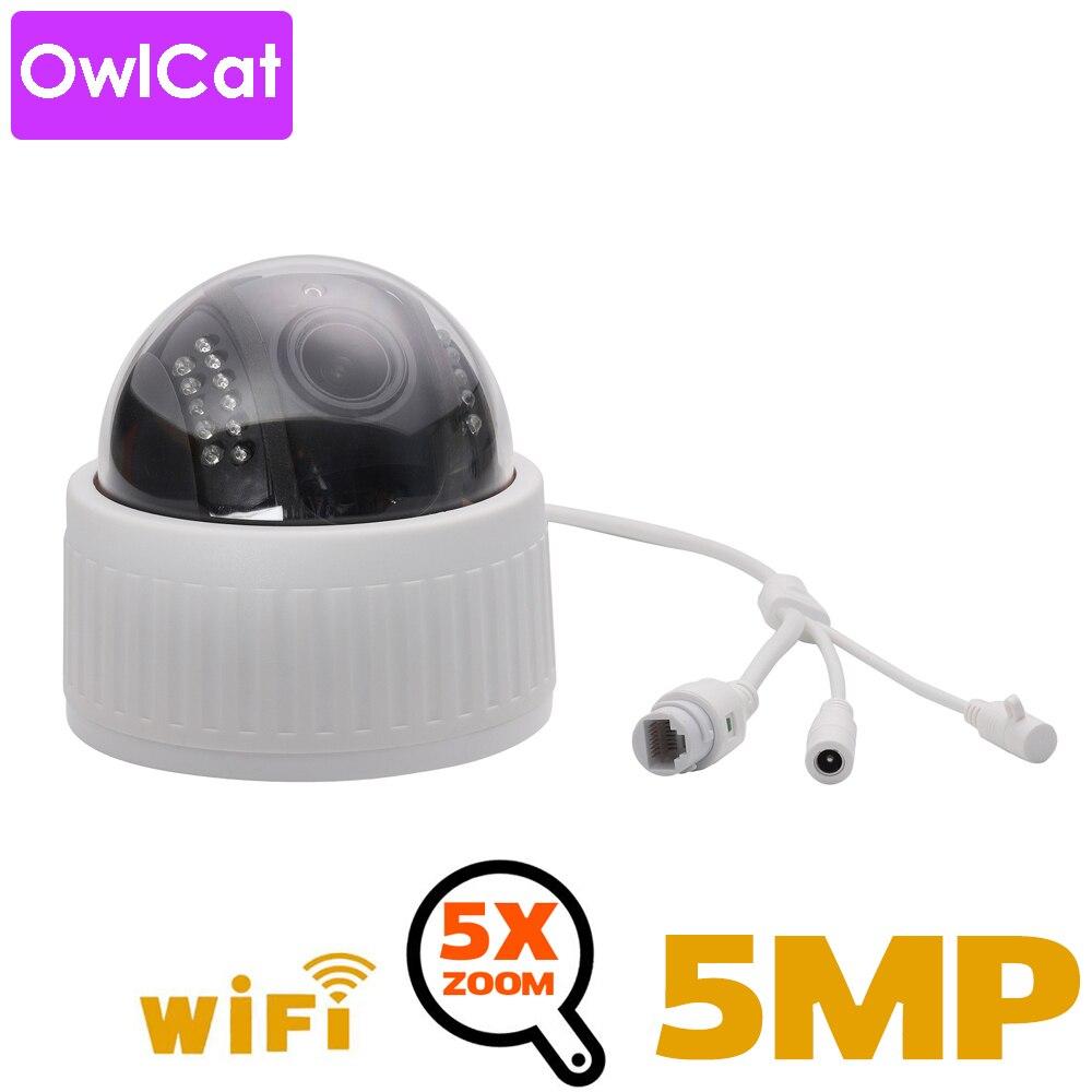 OwlCat 2MP 5MP HD Indoor Wifi PTZ Dome IP Camera 5x Zoom Wireless Video Surveillance CCTV Audio MIC IR Night Flash Card Onvif