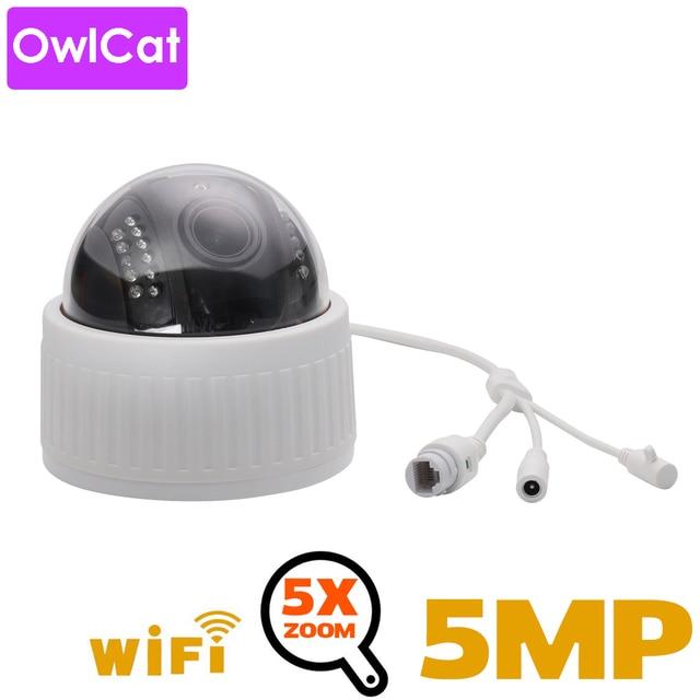 OwlCat 2MP 5MP HD 실내 와이파이 PTZ 돔 IP 카메라 5x 줌 무선 비디오 감시 CCTV 오디오 마이크 IR 밤 플래시 카드 Onvif