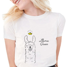 Funny Llama queen women T Shirt graphic tees Women harajuku shirt Plus Size Cute Print Llama T Shirt Soft cotton White top(China)