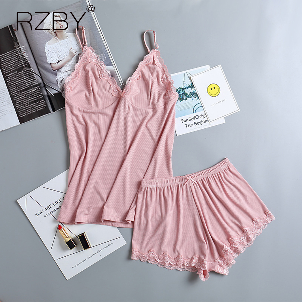 women pajamas set Women's Sleepwear Set Pajamas for Women Pajama Set Sweet Short Sleeve cotton Lace harness pajamas JX030