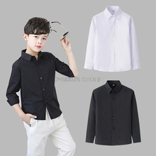 Boys White Shirts for Kids Clothes Solid Cotton Formal Shirt for boys Teenagers School Performance Uniform 4-16 Years Old