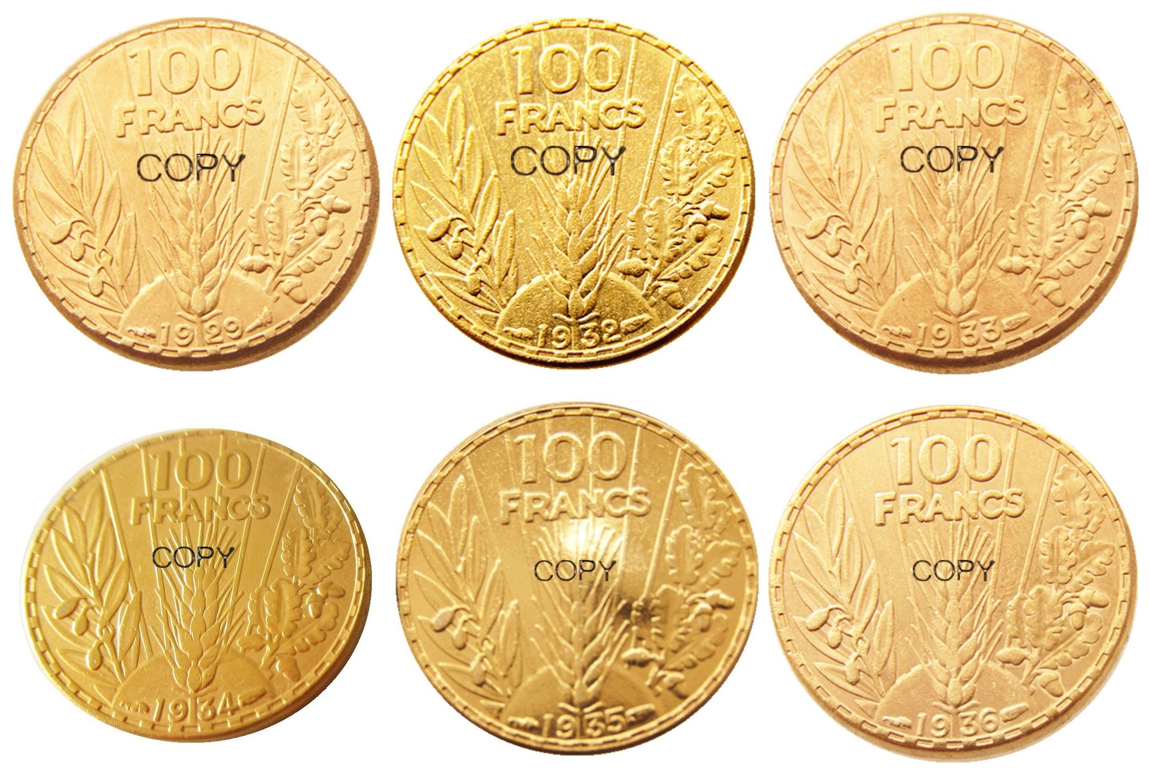 France 100 Francs 1929 - 1936 6pcs Gold Plated Copy Coin