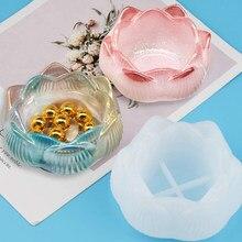 Bamala flor de lótus resina moldes resina cola epoxy moldes para diy castiçal, caixa de armazenamento de jóias, bandeja vaso de flores, presentes de natal diy