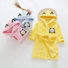 Банный халат для детей 2, 3, 4, 5, 6, 7 лет осенне-зимняя Пижама с капюшоном и рисунком банный халат для мальчиков, одежда для сна для маленьких девочек Новинка года