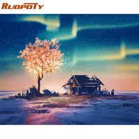 RUOPOTY Rahmen Landschaft Fantasie Baum Diy Malerei Durch Zahlen Acryl Wand Kunst Bild Durch Zahlen Handgemalte Öl Malerei 60x75