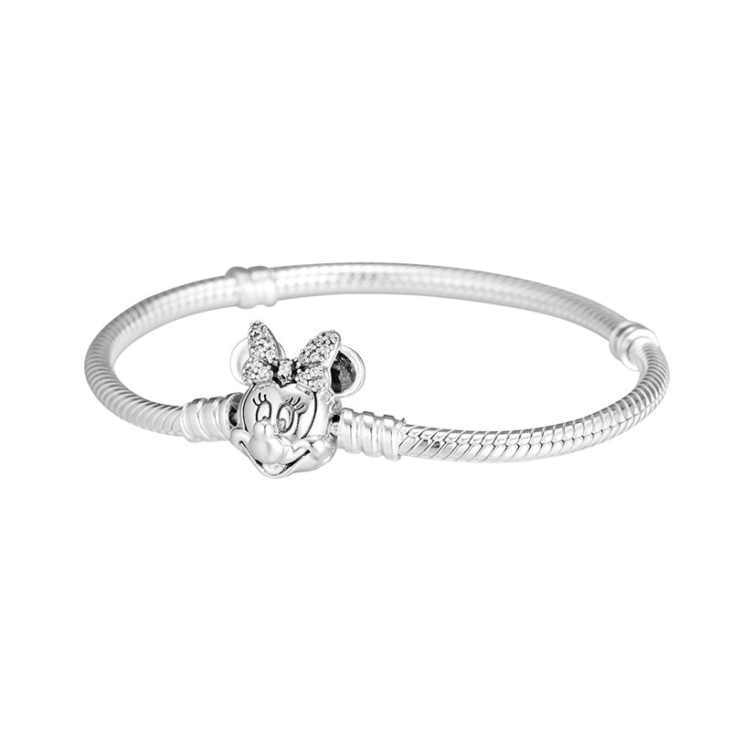 Shimmering Bow Mouse Shape Clasp MOMENTS Bracelet Female Sterling Silver Jewelry Snake Chain Charms Bracelets For Women DIY Bead