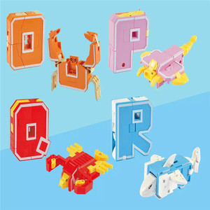 Image 5 - 26 English Letters Transform/deformation into dinosaurs/Animals 8 robots Creative Action Figures Building Block toy Kids gifts