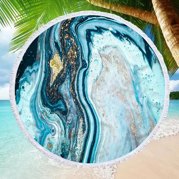 Marmurowy ręcznik plażowy z nadrukiem 150cm z mikrofibry okrągły ręcznik kąpielowy plażowy Quicksand Geode letni ręcznik plażowy tanie i dobre opinie XC USHIO CN (pochodzenie) Beach Towel Zwykły Tkane ROUND 450g Można prać w pralce 5 s-10 s Drukuj Tkanina z mikrofibry