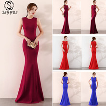 Skyyue Evening Dress Solid Sexy Sleeveless Women Party Dresses O-neck Robe De Soiree 2019 Zipper Formal Gowns C096-DS3