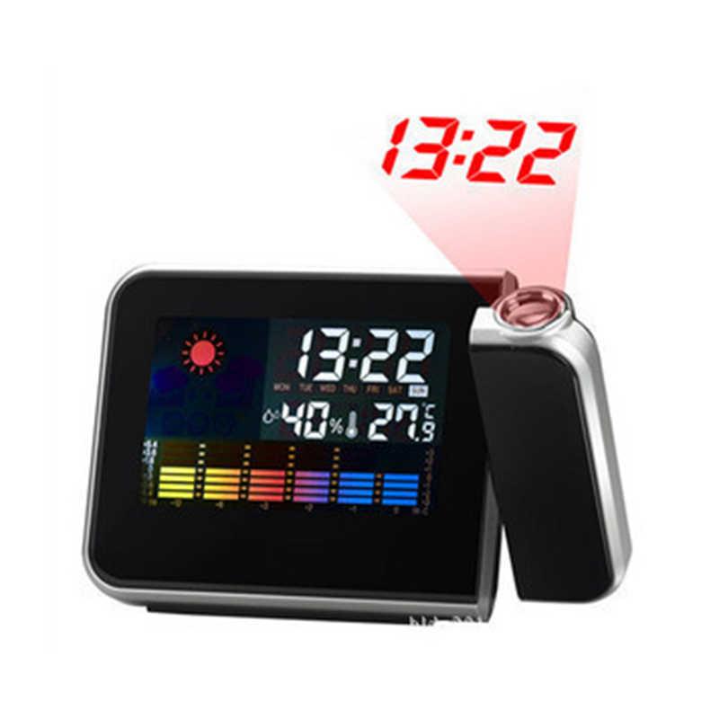 2019 Новинка 1 шт. проекции цифровая Погодная ЖК-дисплей будильник Цвет Дисплей W/светодиодный Подсветка