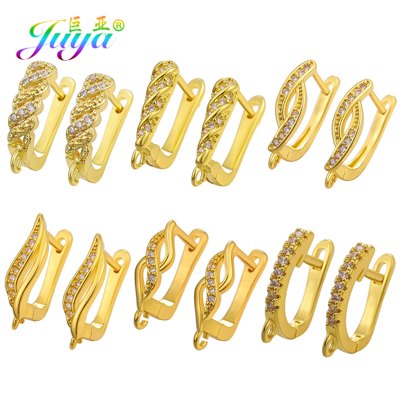 Juya DIY Earrings Components Gold/Silver Leverback Earring Hooks Accessories For Handmade Dangle Earring Jewelry Making Supplies