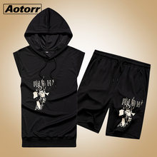 2020 Mode Sommer 2PC Top Short Set Mens hoodies 2 Stück T-shirt Shorts Fitness Anzüge Trainingsanzug Marke Hülsen-track-sportmode Set männer(China)
