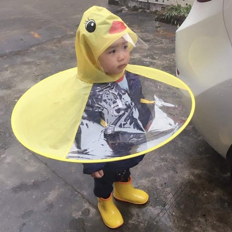 PPXX Yellow Duck Cartoon Children Raincoat Jacket Waterproof Outfit Rain Cover Baby Kids Poncho Cloak 2