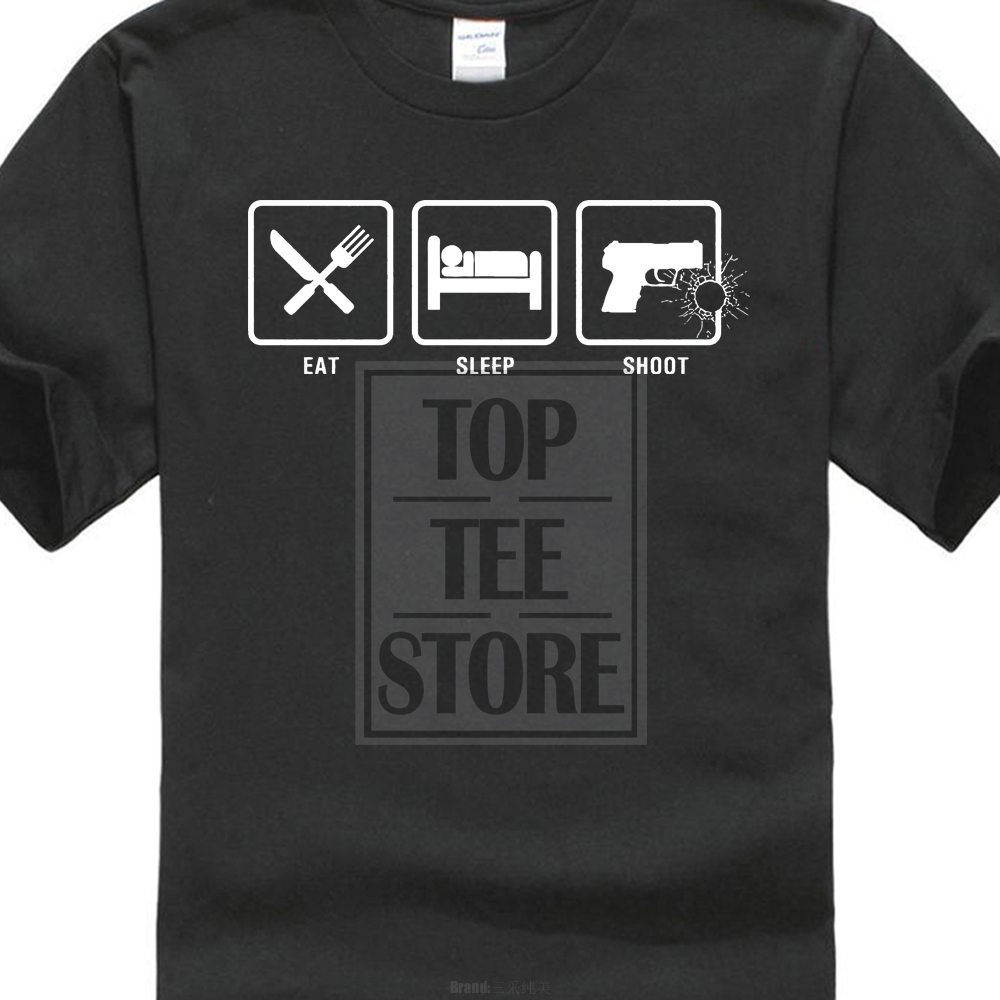 Tee Shirt O Neck Premium Short Sleeve Eat Sleep Shoot Nra Guns Gun Pistol Conceal Carry 2Nd Ammendment T Shirt Tee 014885
