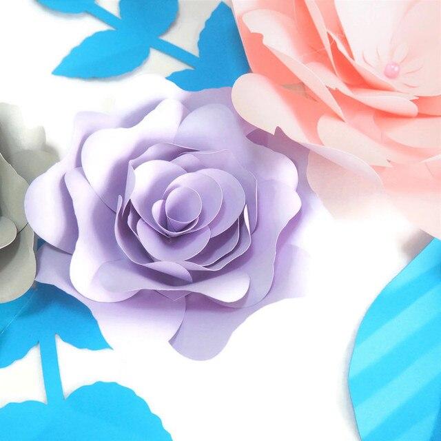 DIY sztuczne kwiaty Fleurs Artificielles tło ogromny papierowy róża 4szt + 4 liście na wesele dekoracja Baby Shower