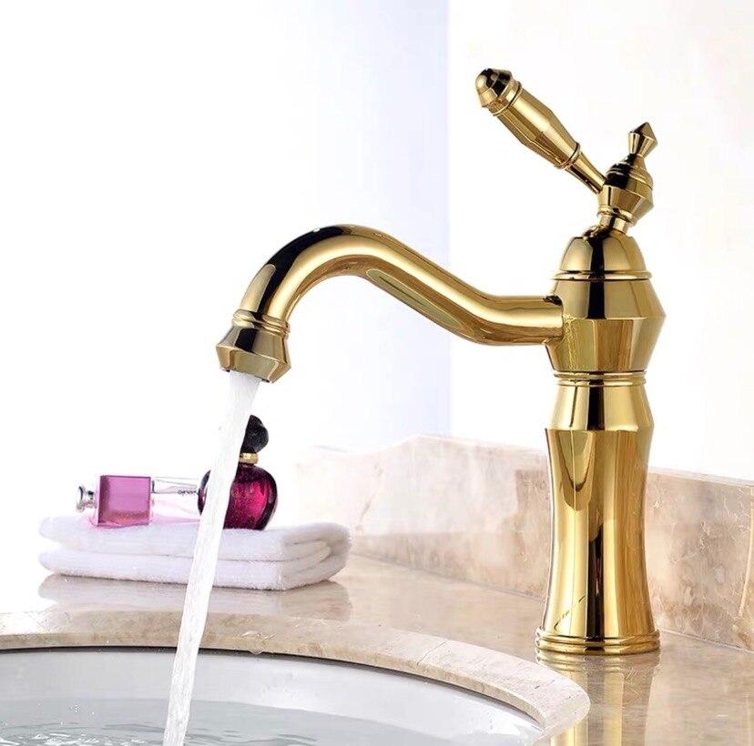 Большой рот раковина смесители латунь% 2F медь полировка золото раковина раковина смесители горячая холодная вода кран палуба навесное
